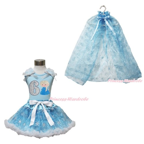 Frozen Elsa Light Blue Tank Tops White Ruffles Sparkle Silver Grey Bow 6th Sparkle White Birthday Number Princess Elsa & Sparkle Snowflakes Light Blue Organza Pettiskirt & Snowflakes Light Blue Organza Cape MH245