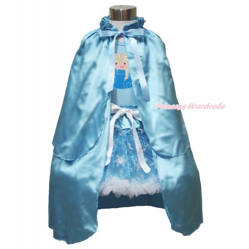 Frozen Elsa Light Blue Tank Tops White Ruffles Sparkle Silver Grey Bow Princess Elsa & Sparkle Snowflakes Light Blue Organza Pettiskirt & Light Blue Satin Cape MH247