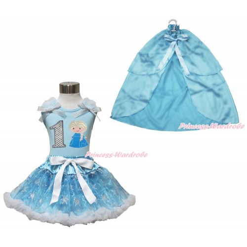 Frozen Elsa Light Blue Tank Tops White Ruffles Sparkle Silver Grey Bow 1st Sparkle White Birthday Number Princess Elsa & Sparkle Snowflakes Light Blue Organza Pettiskirt & Light Blue Satin Cape MH248