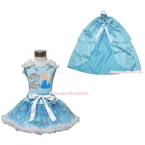 Frozen Elsa Light Blue Tank Tops White Ruffles Sparkle Silver Grey Bow 2nd Sparkle White Birthday Number Princess Elsa & Sparkle Snowflakes Light Blue Organza Pettiskirt & Light Blue Satin Cape MH249