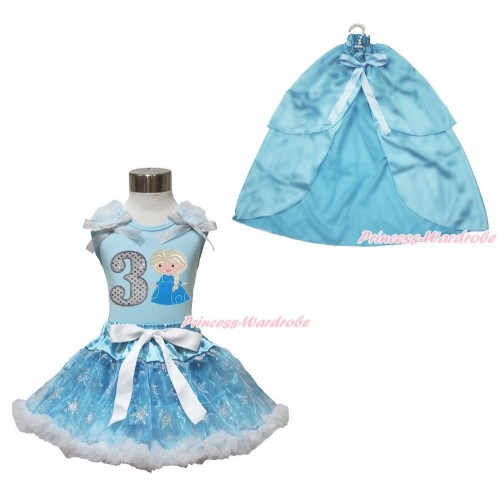 Frozen Elsa Light Blue Tank Tops White Ruffles Sparkle Silver Grey Bow 3rd Sparkle White Birthday Number Princess Elsa & Sparkle Snowflakes Light Blue Organza Pettiskirt & Light Blue Satin Cape MH250