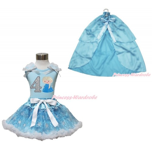Frozen Elsa Light Blue Tank Tops White Ruffles Sparkle Silver Grey Bow 4th Sparkle White Birthday Number Princess Elsa & Sparkle Snowflakes Light Blue Organza Pettiskirt & Light Blue Satin Cape MH251