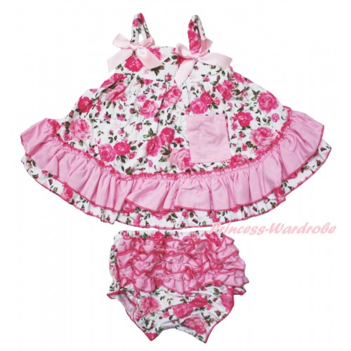 Light Pink Rose Fusion Swing Top & Light Pink Bow & Rose Fusion Panties Bloomers SP11