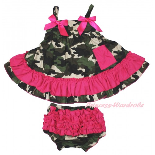 Hot Pink Camouflage Swing Top & Hot Pink Bow & Camouflage Panties Bloomers SP12