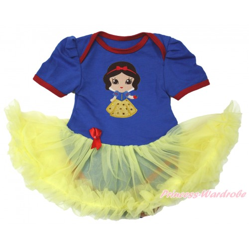 Royal Blue Red Ruffles Baby Bodysuit Jumpsuit Yellow Pettiskirt with Snow White Print JS3671