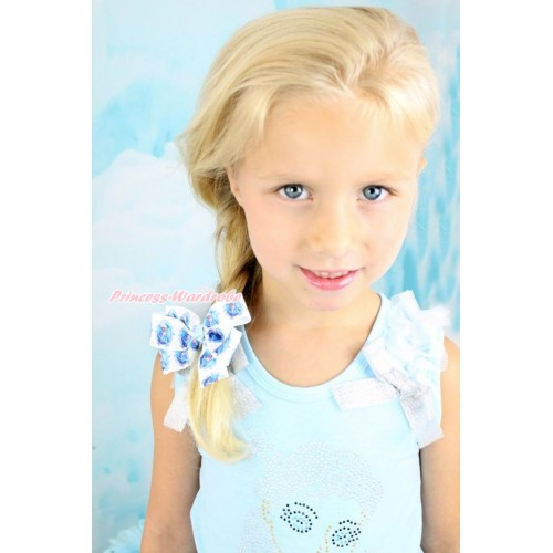 Frozen Princess Elsa Ribbon Bow Hair Clip H869