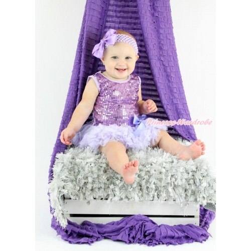 Valentine's Day Lavender Sparkle Sequins Baby Bodysuit Pettiskirt & Bow & Lavender Headband Silk Bow JS3747
