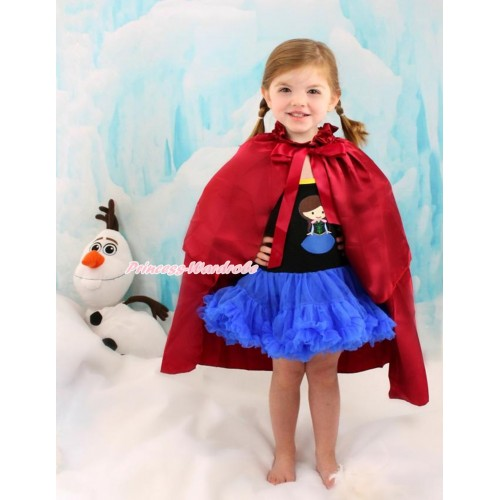 Frozen Anna Black Halter Royal Blue ONE-PIECE Dress & Princess Anna & Raspberry Wine Red Satin Cape LP100