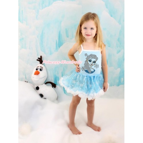 Frozen Princess Elsa Light Blue Sparkle Bling Snowflakes ONE-PIECE Halter Dress With Sparkle Crystal Bling Rhinestone Princess Elsa Print LP71