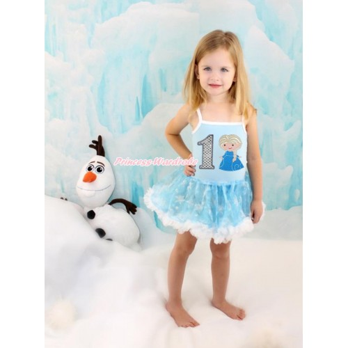Frozen Princess Elsa Light Blue Sparkle Bling Snowflakes ONE-PIECE Halter Dress With 1st Sparkle White Birthday Number & Princess Elsa Print LP73