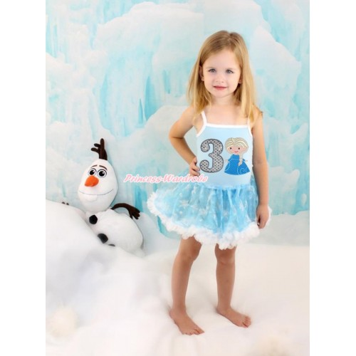 Frozen Princess Elsa Light Blue Sparkle Bling Snowflakes ONE-PIECE Halter Dress With 3rd Sparkle White Birthday Number & Princess Elsa Print LP75