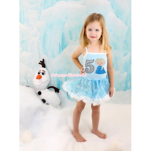 Frozen Princess Elsa Light Blue Sparkle Bling Snowflakes ONE-PIECE Halter Dress With 5th Sparkle White Birthday Number & Princess Elsa Print LP77