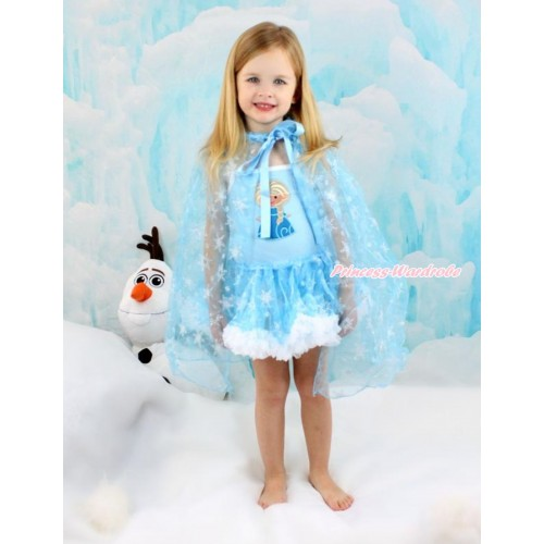 Frozen Princess Elsa Light Blue Sparkle Bling Snowflakes ONE-PIECE Halter Dress With Princess Elsa Print With Sparkle Snowflakes Light Blue Organza Cape LP81