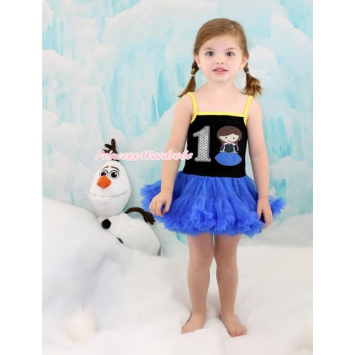 Frozen Anna Black Halter Royal Blue ONE-PIECE Dress & 1st Sparkle White Birthday Number Princess Anna LP91