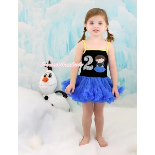 Frozen Anna Black Halter Royal Blue ONE-PIECE Dress & 2nd Sparkle White Birthday Number Princess Anna LP92