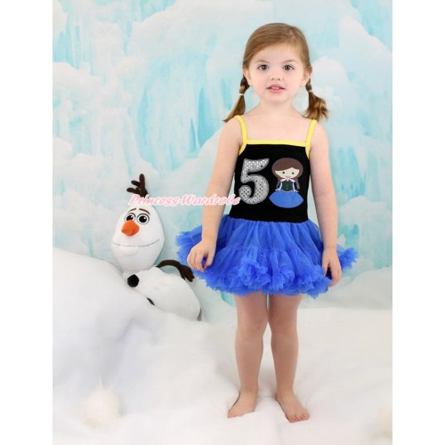 Frozen Anna Black Halter Royal Blue ONE-PIECE Dress & 5th Sparkle White Birthday Number Princess Anna LP95