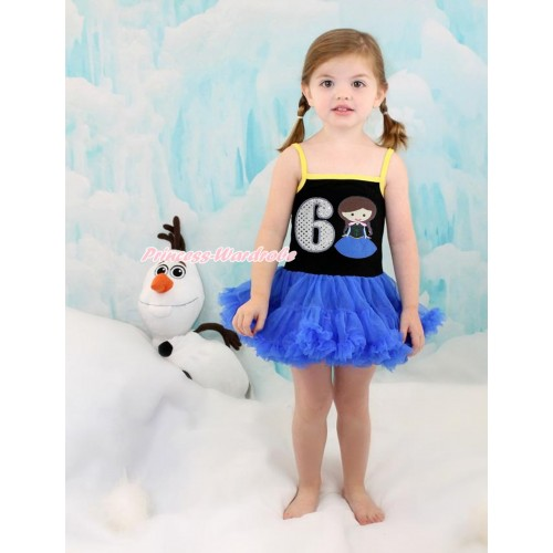 Frozen Anna Black Halter Royal Blue ONE-PIECE Dress & 6th Sparkle White Birthday Number Princess Anna LP96
