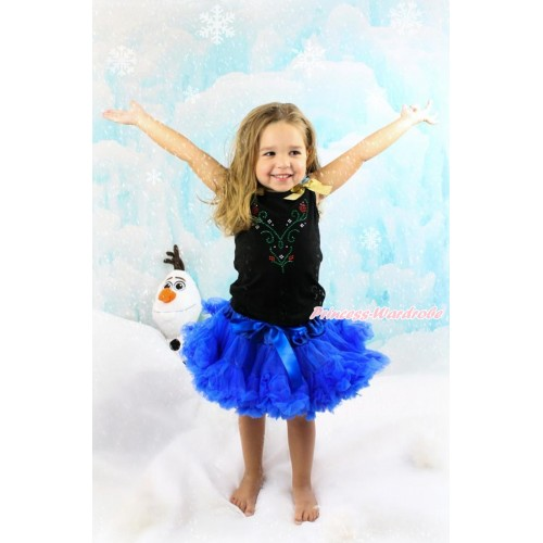 Black Tank Top with Light Blue Ruffles & Sparkle Goldenrod Bow with Sparkle Crystal Bling Rhinestone Princess Anna Print & Royal Blue Pettiskirt MG1143