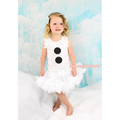 White Tank Top with White Ruffles & White Bow with Olaf Button Print & White Pettiskirt MG1234
