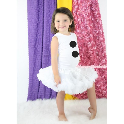 Frozen White Tank Top & Olaf Button Print & White Pettiskirt MG1277
