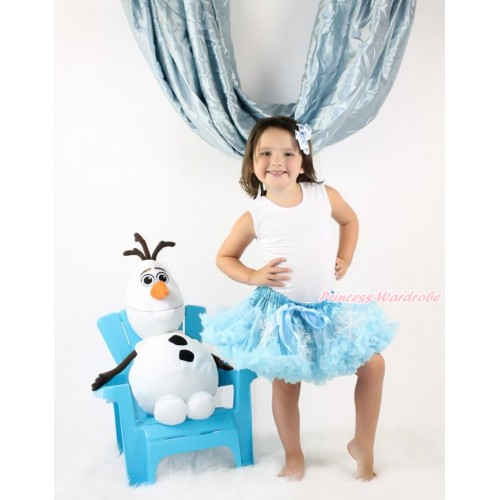 Frozen Elsa Snowflakes Light Blue Full Pettiskirt P187