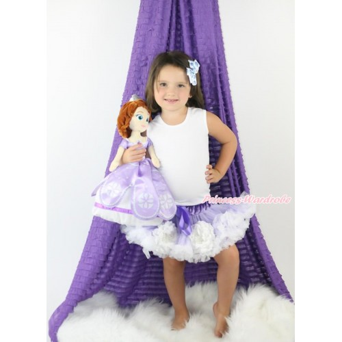 Princess Sofia White Peony Lavender White Full Pettiskirt P190