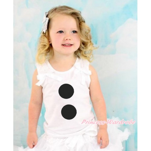 Frozen White Tank Top With White Ruffles & White Bow With Olaf Button Print TB816