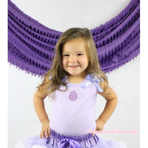 Princess Sofia Lavender Tank Top White Ruffles Lavender Bow & Sparkle Bling Rhinestone Necklace Print TN241
