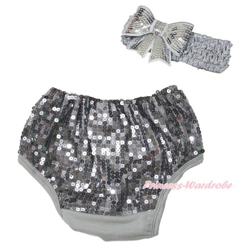 Grey Sparkle Sequins Panties Bloomers & Grey Headband Sparkle Sequins Bow BA24