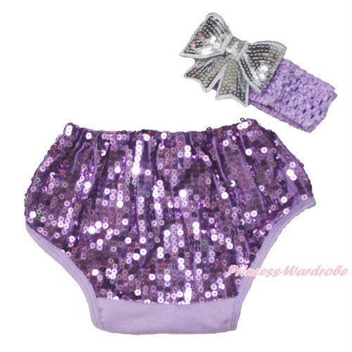Lavender Sparkle Sequins Panties Bloomers & Lavender Headband Grey Sparkle Sequins Bow BA28