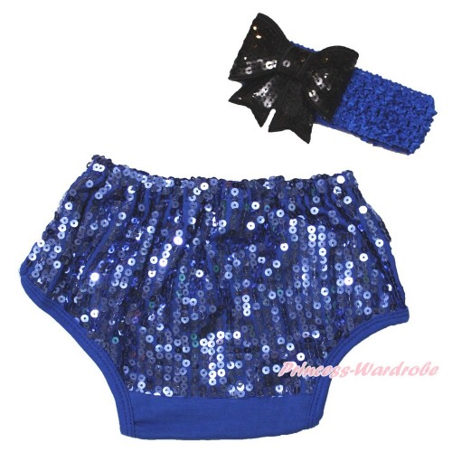 Royal Blue Sparkle Sequins Panties Bloomers & Royal Blue Headband Black Sparkle Sequins Bow BA29