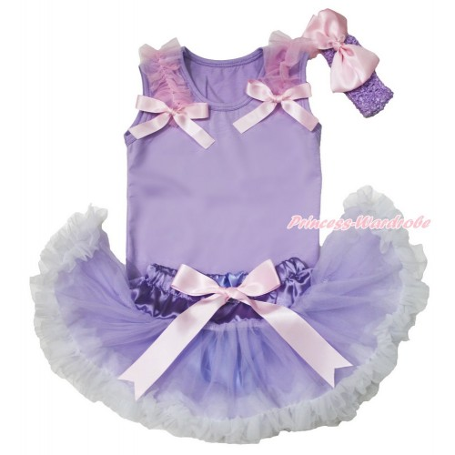 Lavender Baby Pettitop Light Pink Ruffles & Bow & Lavender White Newborn Pettiskirt & Lavender Headband Light Pink Silk Bow BG160