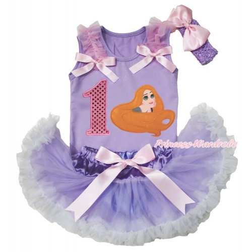 Lavender Baby Pettitop Light Pink Ruffles & Bows & 1st Sparkle Light Pink Birthday Number Princess Tangled & Lavender White Newborn Pettiskirt & Lavender Headband Light Pink Silk Bow BG163