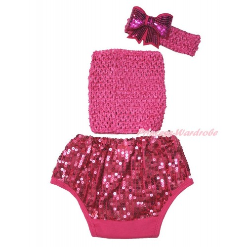 Hot Pink Crochet Tube Top & Sparkle Sequins Panties Bloomers & Hot Pink Headband Sparkle Sequins Bow 3PC Set CT681