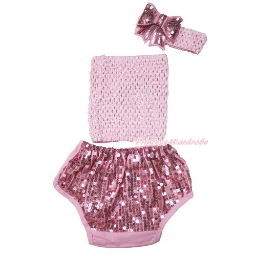 Light Pink Crochet Tube Top & Sparkle Sequins Panties Bloomers & Light Pink Headband Sparkle Sequins Bow 3PC Set CT682