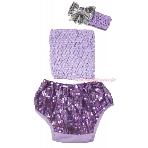 Lavender Crochet Tube Top & Sparkle Sequins Panties Bloomers & Lavender  Headband Grey Sparkle Sequins Bow 3PC Set CT683