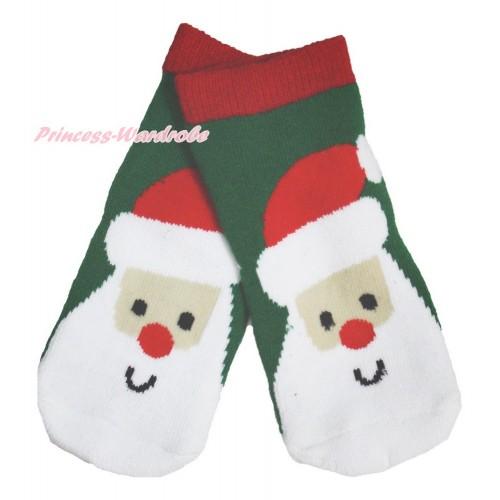 Xmas Red Green Santa Cluas Socks H316