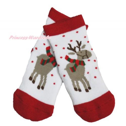 Xmas Red White Christmas Reindeer Socks H317