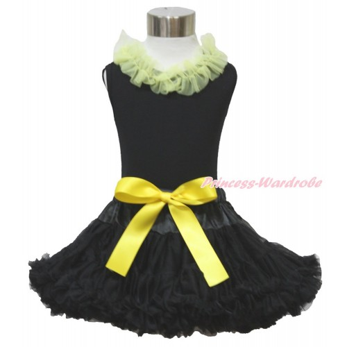 Black Tank Top Yellow Chiffon Lacing & Black Pettiskirt  MG1249