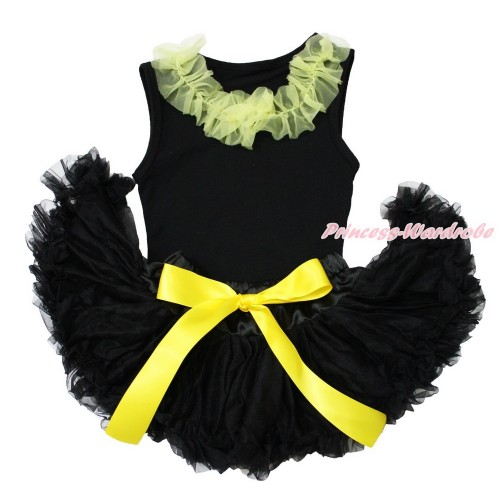 Black Baby Pettitop & Yellow Chiffon Lacing & Black Baby Pettiskirt NG1549