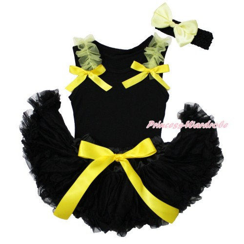 Black Baby Pettitop Yellow Ruffles & Bow & Black Newborn Pettiskirt & Black Headband Yellow Silk Bow NG1553