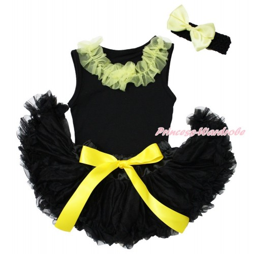 Black Baby Pettitop Yellow Chiffon Lacing  & Black Newborn Pettiskirt & Black Headband Yellow Silk Bow NG1554