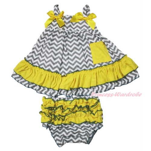 Grey White Chevron Swing Top & Yellow Bow & Panties Bloomers SP15