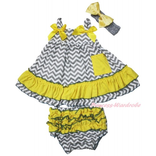 Grey White Chevron Swing Top & Yellow Bow & Panties Bloomers & Grey Headband Yellow Satin Bow SP17
