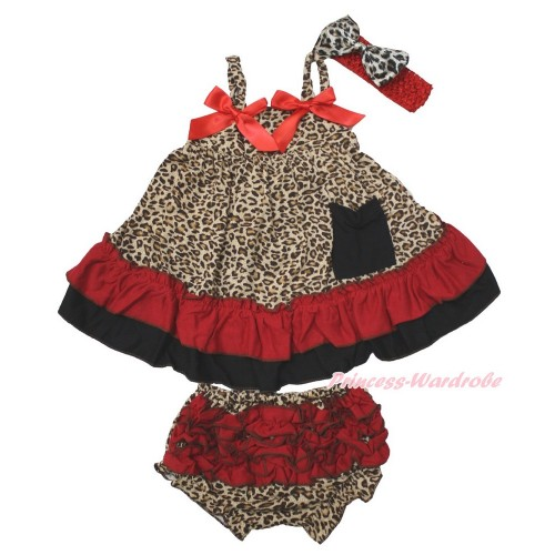 Leopard Swing Top & Hot Red Bow & Panties Bloomers & Red Headband Leopard Satin Bow SP18