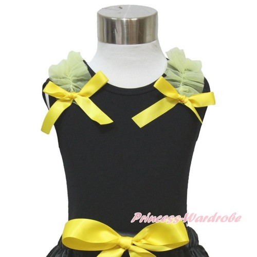 Black Tank Top & Yellow Ruffles & Bow TB839