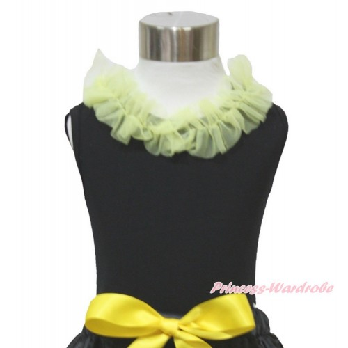 Black Tank Top & Yellow Chiffon Lacing TB840