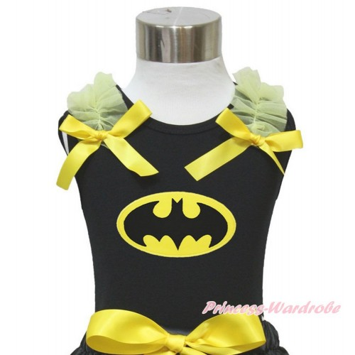 Black Tank Top Yellow Ruffles & Bow & Batman Print TB841