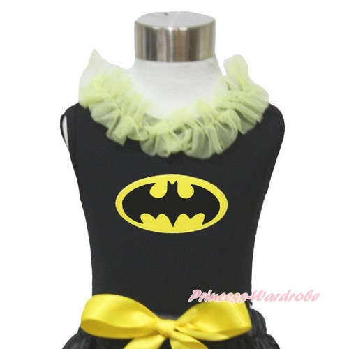 Black Tank Top Yellow Chiffon Lacing & Batman Print TB842