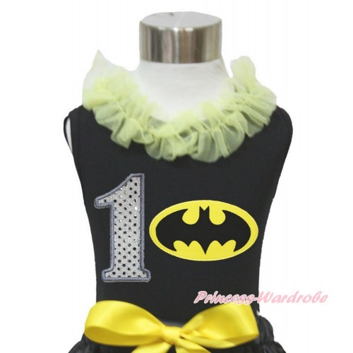 Black Tank Top Yellow Chiffon Lacing & 1st Sparkle White Birthday Number Batman Print TB843